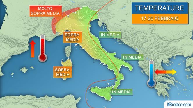 Meteo temperature Italia, restano sopra media specie al Centro Nord e Alpi