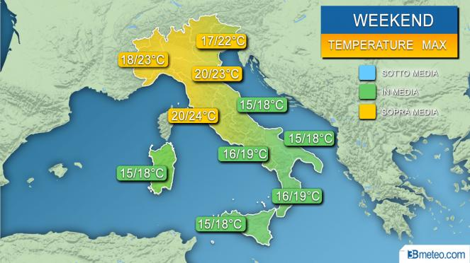 Meteo temperature massime attese nel weekend