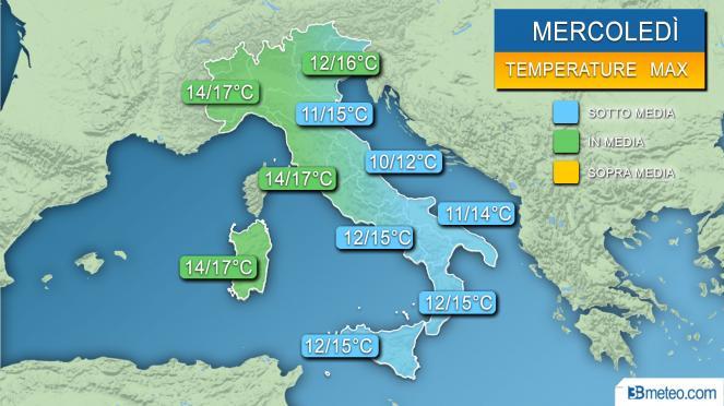 Meteo Temperature massime previste nella giornata di mercoledì