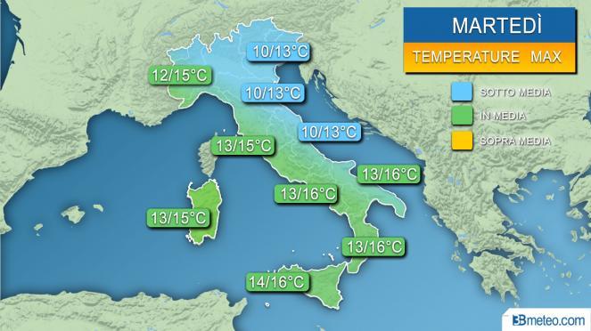 Meteo temperature massime previste per la giornata di martedì