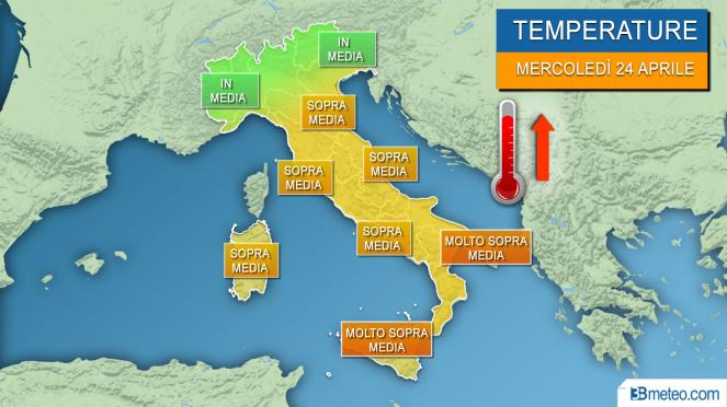 Meteo temperature, saliscendi poi nuova impennata termica mercoledì 24