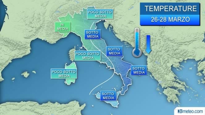 Meteo temperature, sotto media su molte regioni fino a mercoledì-giovedì
