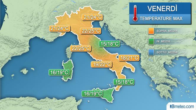 Meteo temperature venerdì