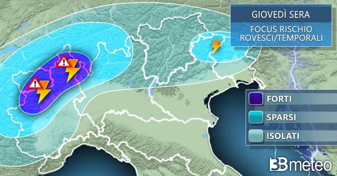 Meteo, temporali previsti per giovedì sera