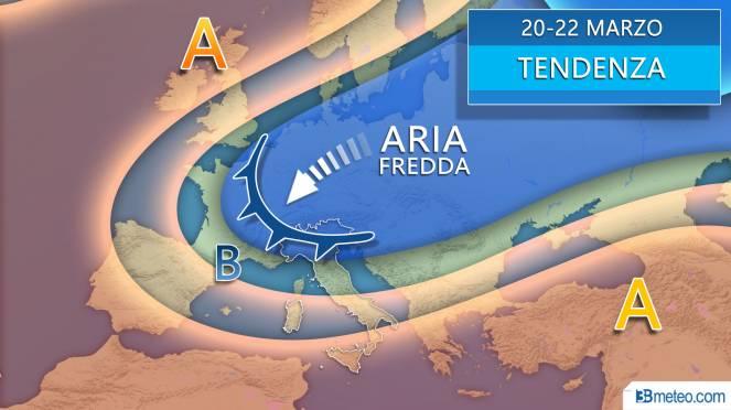 Meteo tendenza 20-22 marzo, ci provano le correnti artiche continentali
