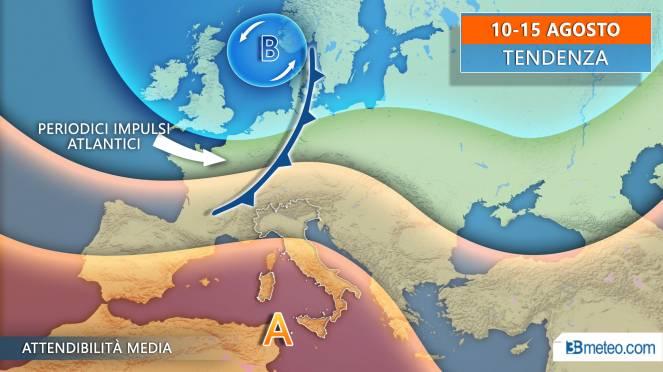 Meteo tendenza periodo 10-15 agosto