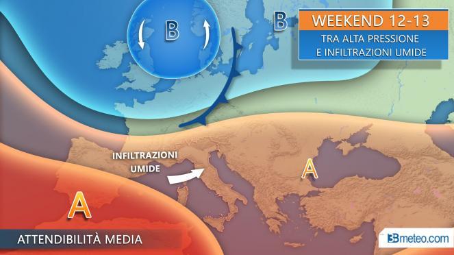 Meteo tendenza tra venerdì e il weekend, tra alta pressione e infiltrazioni umide