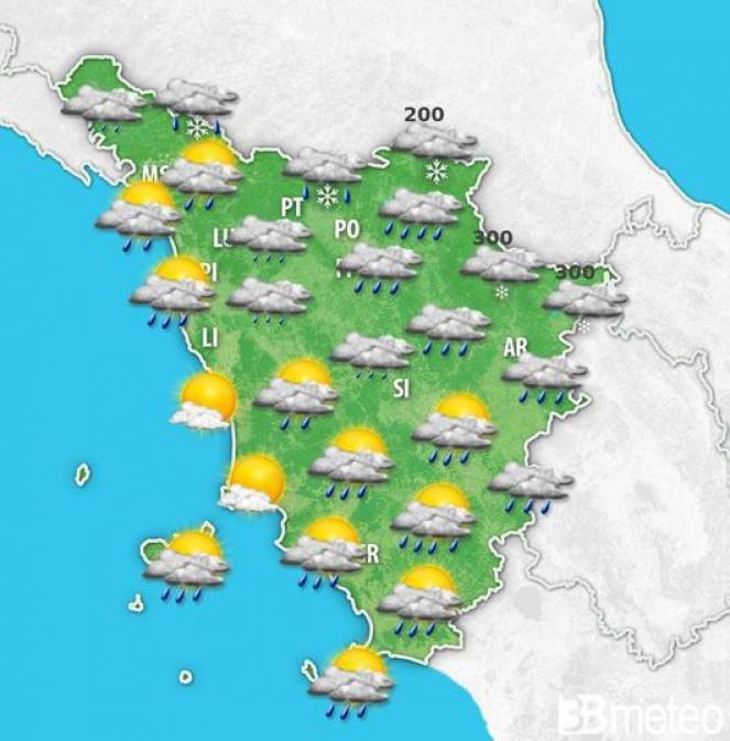 Meteo Toscana: giovedì mattina fiocchi di neve fino a quote collinari