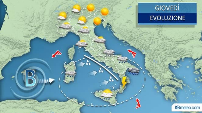 Meteo tra mercoledì e giovedì il vortice raggiunge parte dell'Italia