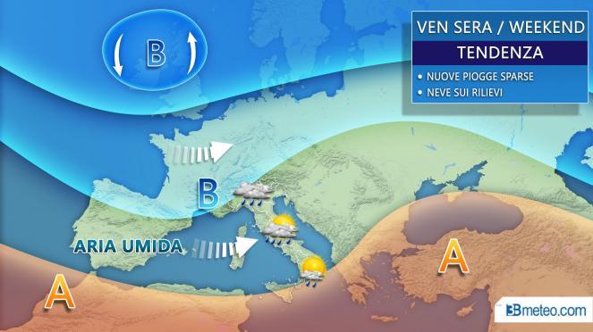 Meteo: tra venerdì e il weekend nuova perturbazione sull'Italia