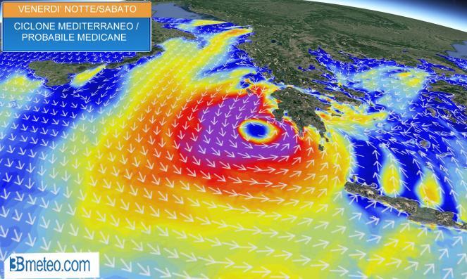 Meteo: venerdì notte/sabato probabile landfall sulla Grecia