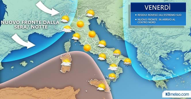 Meteo venerdì: situazione prevista sull'Italia