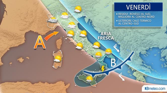 METEO venerdì: ultimi piovaschi al Sud, migliora altrove