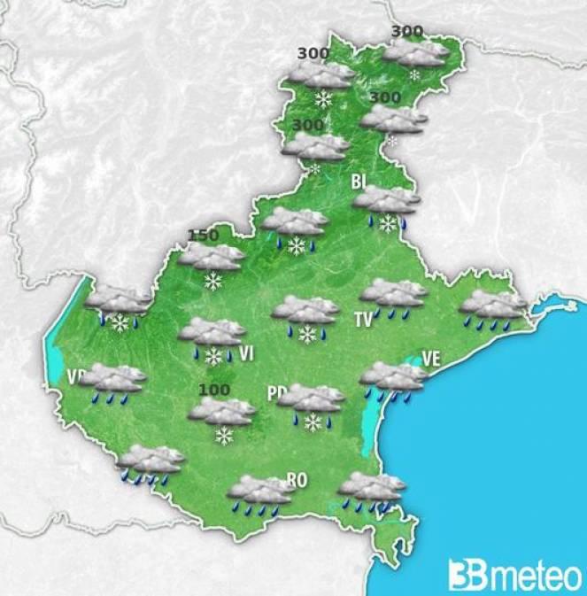 Meteo Veneto - Clima invernale, fiocchi di neve fino a quote basse