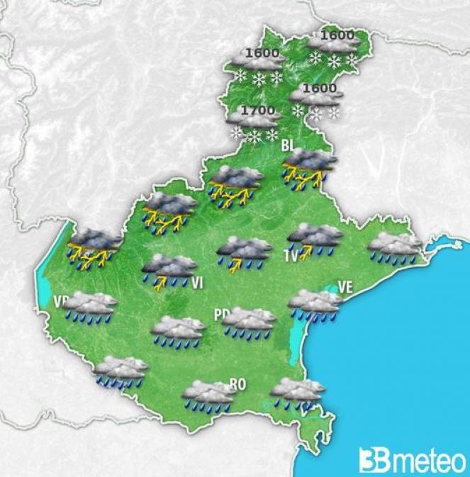 Meteo Veneto: domenica di maltempo