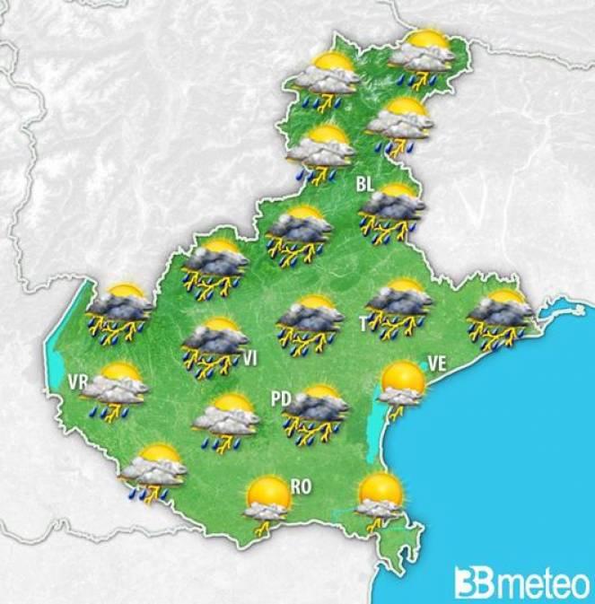 Meteo Veneto: il tempo previsto sabato pomeriggio