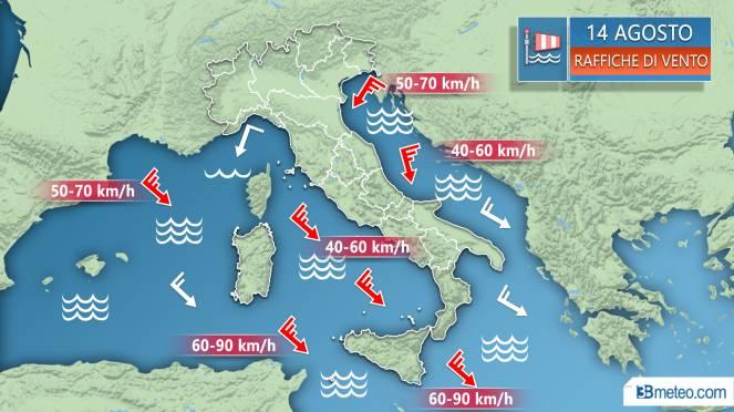 Meteo, venti anche forti e mari molto mossi sull'Italia