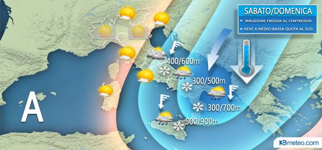 Meteo weekend, freddo e neve fino a bassa quota al Sud e medio Adriatico