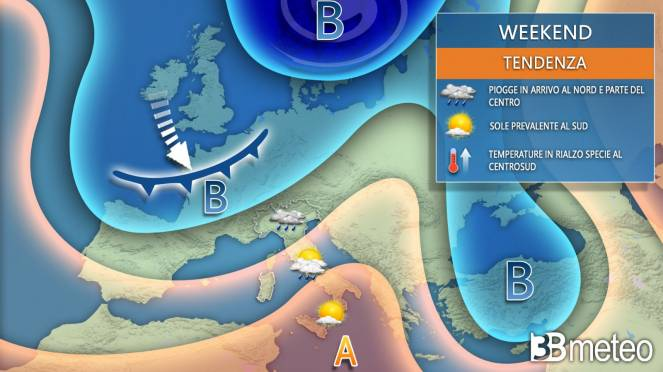 Meteo weekend, tempo in peggioramento al Nord e su parte del Centro