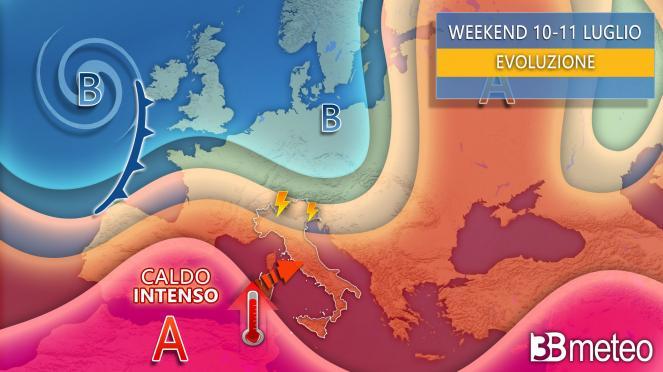 Meteo weekend tra sole e locali temporali, meno caldo