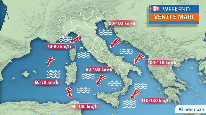 METEO WEEKEND venti forti e mari in burrasca con mareggiate