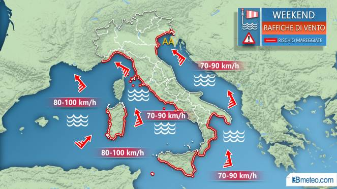 Meteo weekend, venti forti, mareggiate e acqua alta a Venezia