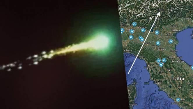 Meteorite ( immagine di repertorio ) e traiettoria presunta