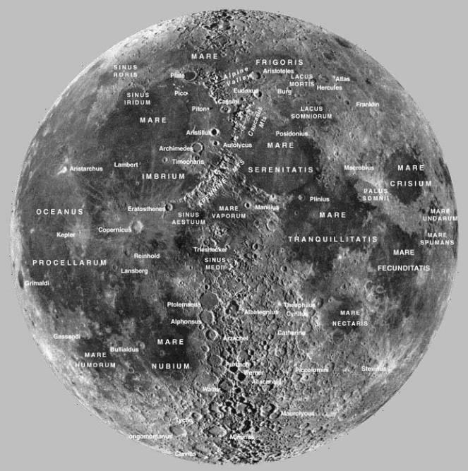Monti, mari e crateri della Luna
