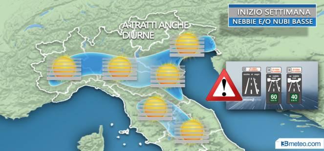 Nebbie diffuse tra Val Padana e valli del Centro