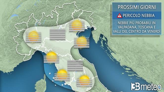 Nebbie in agguato nei prossimi giorni sull'Italia