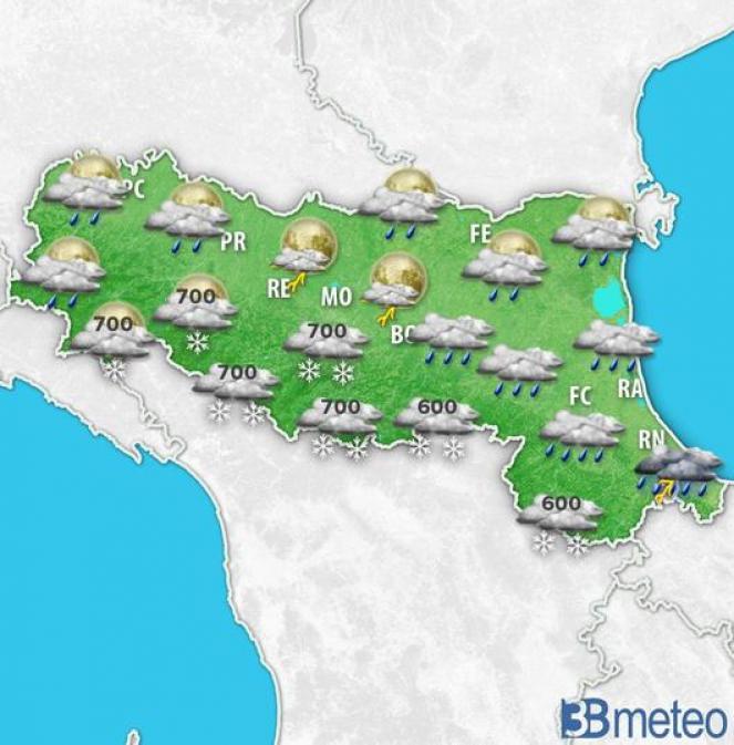 Neve fino a quote di alta collina nella notte su martedì in Emilia Romagna