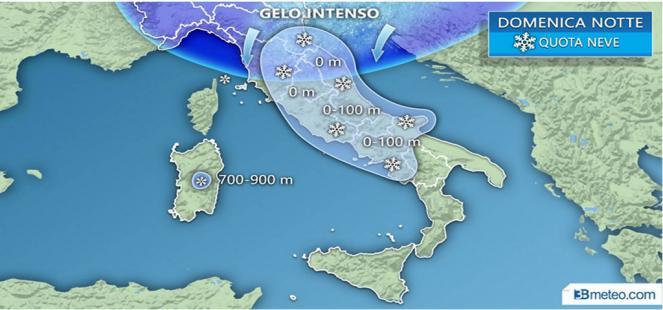 GELO SIBERIANO e NEVE fino in pianura nelle prossime ore, anche a ROMA