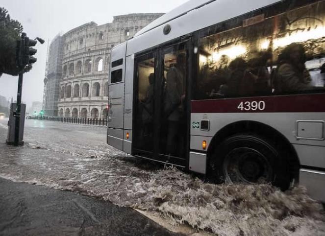 Nubifragio a Roma questa mattina. Fonte immagine: ANSA