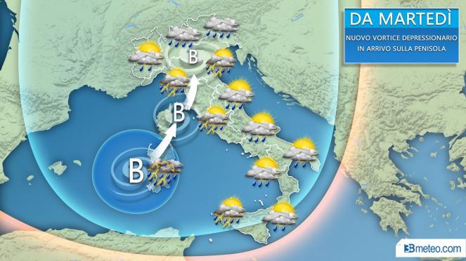 Nuova perturbazione tra martedì e mercoledì sull'Italia