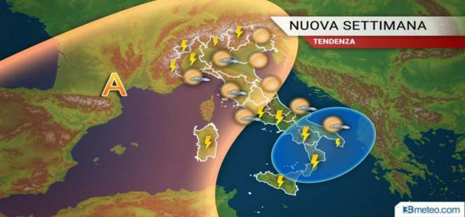 Nuovi TEMPORALI nei prossimi giorni al Sud e sulle Isole, più sole e caldo al Centronord