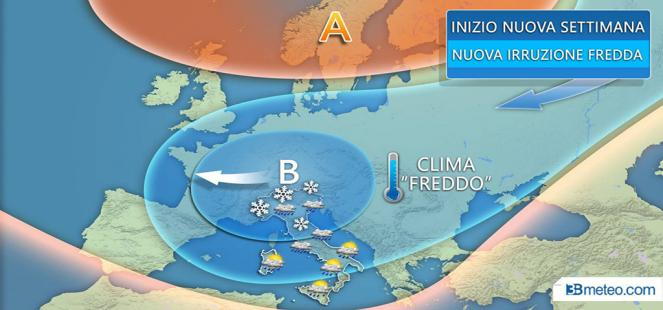 Inizio settimana: nuovo peggioramento con *NEVE* anche a bassa quota al Nord