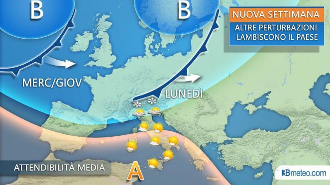 Nuova settimana: perturbazioni atlantiche lambiscono l'Italia