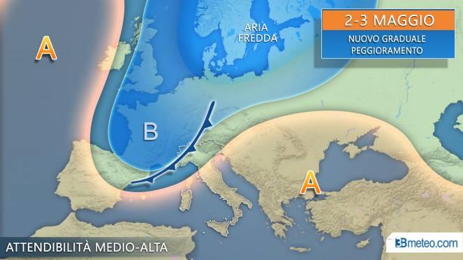 Nuovo intenso peggioramento sull'Italia tra il 2 e il 3 maggio