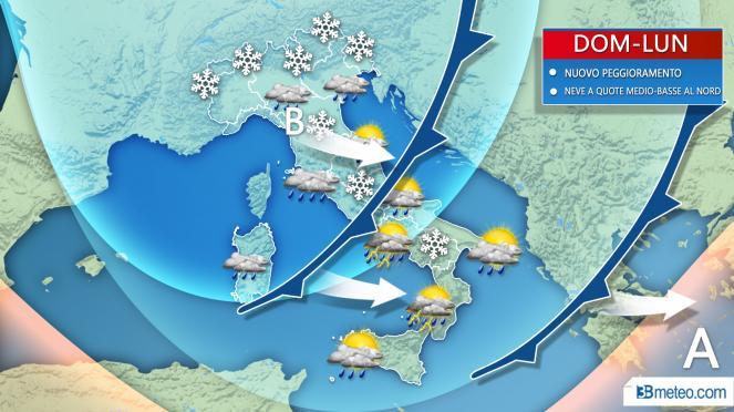Previsioni meteo, settimana di maltempo con neve in pianura al Nord