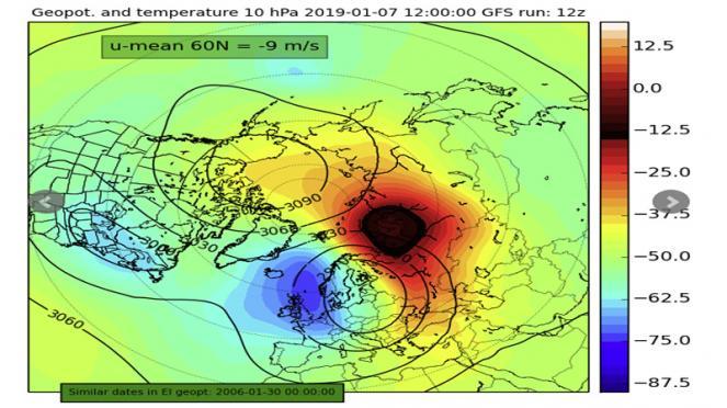 nuovo warming in arrivo in stratosfera
