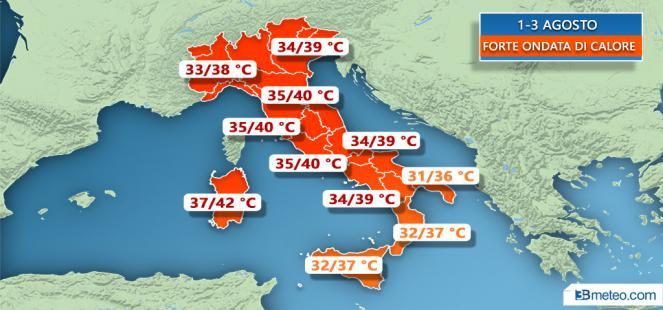 1-5 Agosto: CALDO AFRICANO, FINO A 40°C