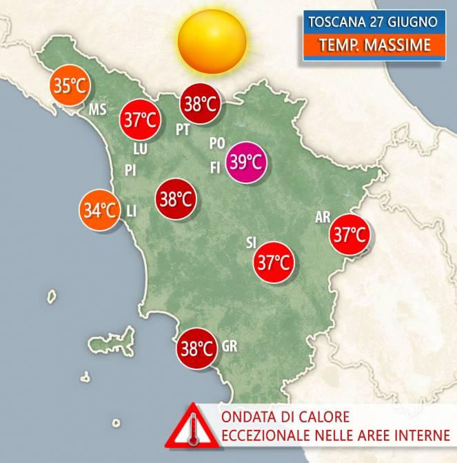 Ondata di caldo molto forte per giugno, specie sulle zone interne.