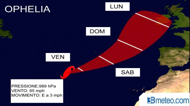 ophelia diventa uragano