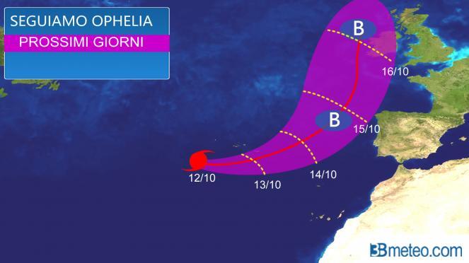 Meteo estremo: l'URAGANO Ophelia verso Europa. Rischio violente tempeste, ecco dove