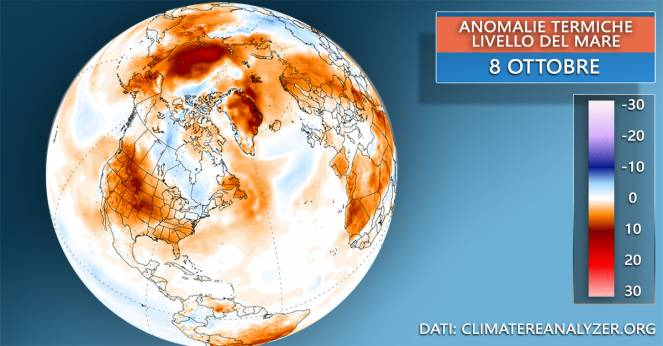 Ottobre, anomalie termiche a livello del mare