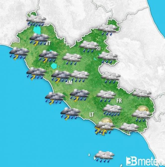 Peggiora dal pomeriggio-sera su Ovest Lazio, forti temporali in mare aperto e su coste toscane.