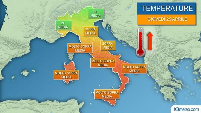 picco del caldo africano nella giornata di giovedì 25 aprile