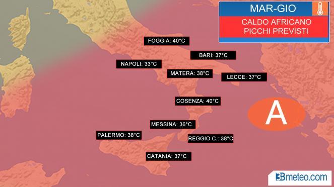 Picco del caldo al Sud tra martedì e giovedì