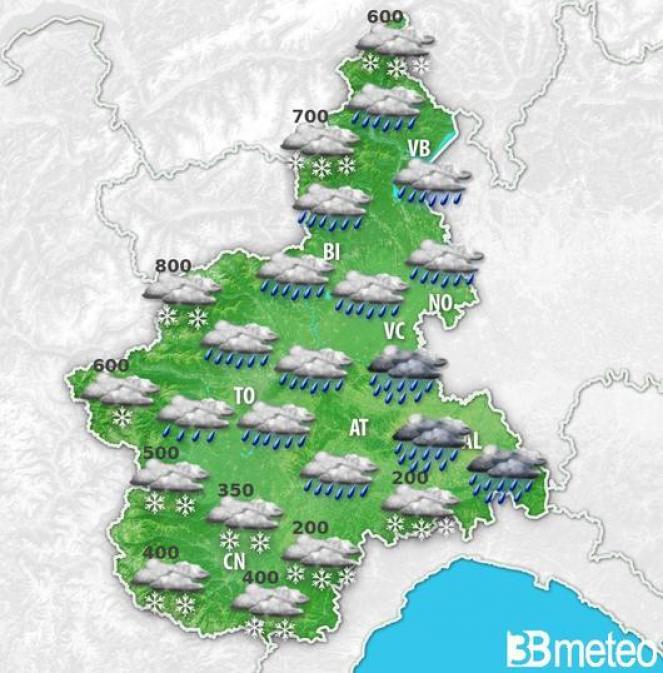 Piemonte: previsione per lunedì notte