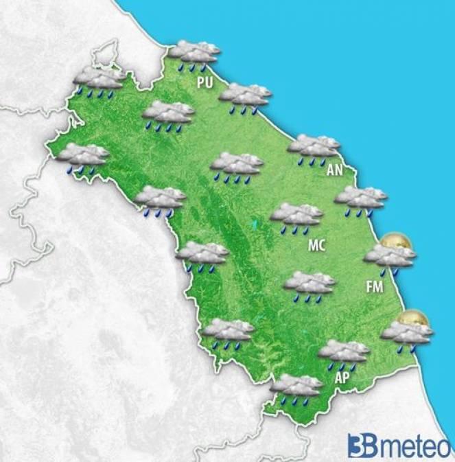 Piogge diffuse attese nella notte tra mercoledì e giovedì sulle Marche